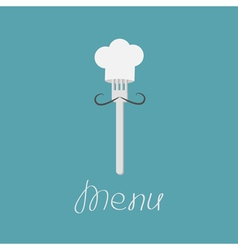 Fork with mustache and chefs hat Menu card vector
