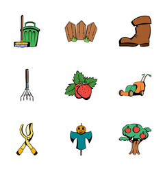 Garden work icons set cartoon style vector