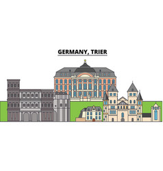 Germany trier city skyline architecture vector