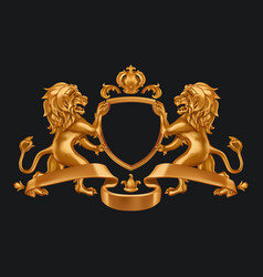 gold coat arms lions and crown 3d on black vector image