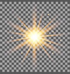 gold rays light effect isolated on transparent bac vector image