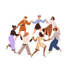 Group diverse happy women dancing in circle vector