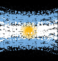 grunge blots argentina flag background vector image