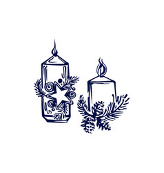 hand drawn christmas candles isolated on white vector image