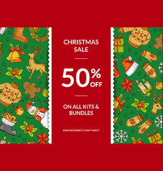 hand drawn colored christmas elements vector image