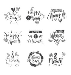 hand drawn happy women day badges set creative vector image