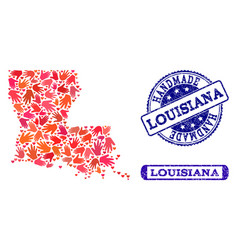 handmade composition of map of louisiana state and vector image