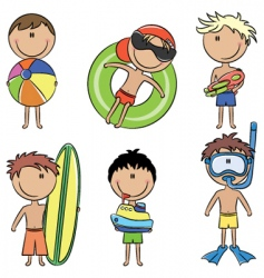 happy kids on the beach vector image