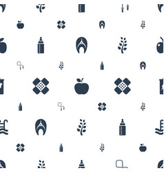 healthy icons pattern seamless white background vector image