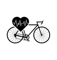 Heart cardiogram and bicycle icon vector