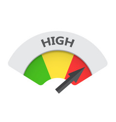 High level risk gauge icon high fuel on white vector