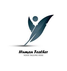 human feather logo vector image