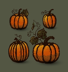 Ink hand drawn pumpkins set vector image