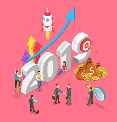 isometric concept of 2019 - year of vector image