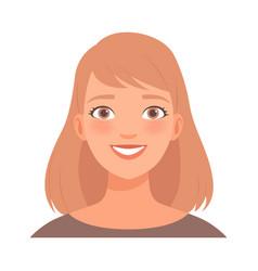 Joyful smile on face a young woman vector