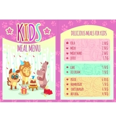 Kids meal menu with animal characters vector image