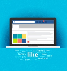 Laptop with social network internet page vector