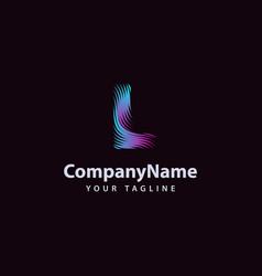 letter l modern wave line logo design template vector image