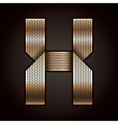 Letter metal gold ribbon - X vector
