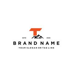 Letter t mountain logo design concept vector