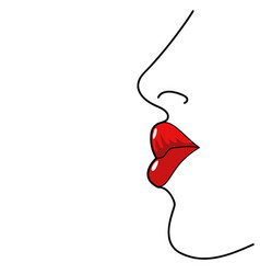 Line art of woman lips vector
