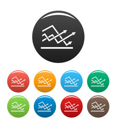 line chart icons set collection circle vector image