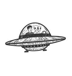 Man with aliens in ufo line art sketch vector