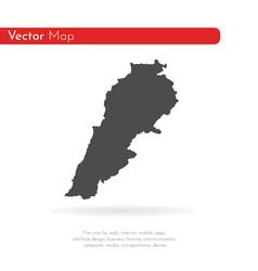 map lebanon isolated black vector image