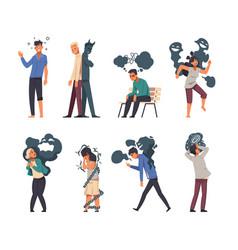 Mental disorder cartoon stressed people vector