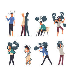 mental disorder cartoon stressed people with vector image