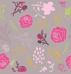 Mixed florals on muted pink background pattern vector