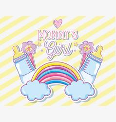 Mommys girl card with cute cartoon vector
