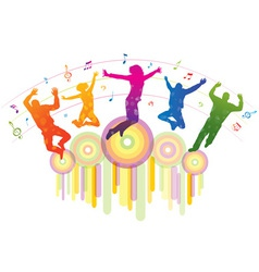 Music background with dancing people vector image