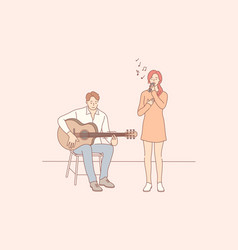 music performance duet concept vector image
