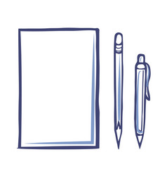 office paper icon and sharp pencil pen isolated vector image