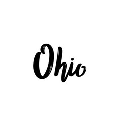 ohio - hand drawn lettering name of usa state vector image