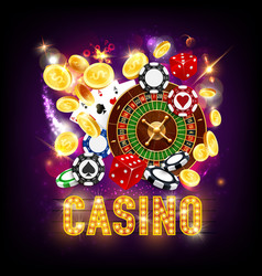 Online casino gambling games roulette and dice vector