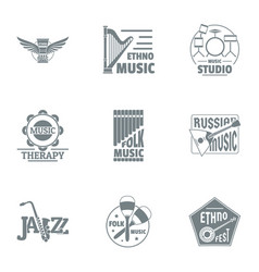 Philharmonic logo set simple style vector