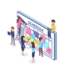 planning team people with schedule and notes vector image