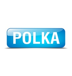 polka blue square 3d realistic isolated web button vector image