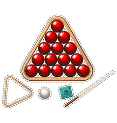 Pool set with red balls and stick vector