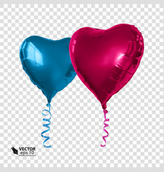 realistic red and blue balloons in the shape of a vector image