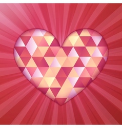 Red diamond triangles texture shining heart vector image