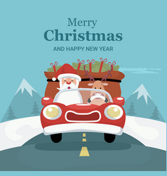 reindeer christmas card driving car with santa cla vector image