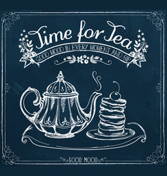 retro poster time for tea with teapot and bakery vector image