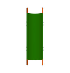 retro stretcher in green design with wooden handle vector image
