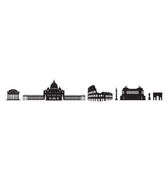 rome travel architectural landark set italian vector image