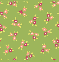 scattered ditsy flowers green pink pattern vector image