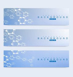 Scientific set of modern banners dna vector