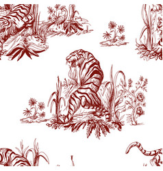 seamless pattern in chinoiserie style for fabric vector image